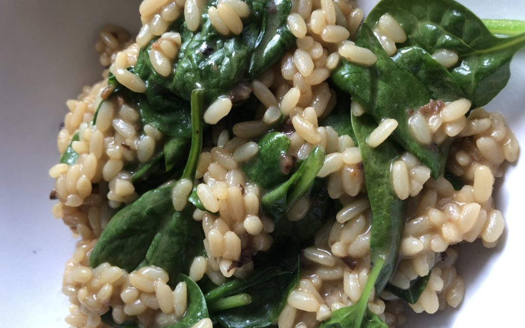 Mushroom Risotto with Spinach (serves 2)