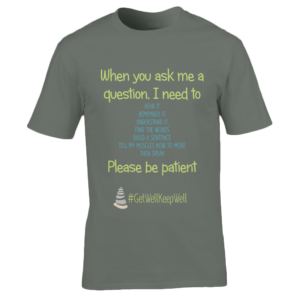 Men's green t-shirt with When You Ask me a Question logo